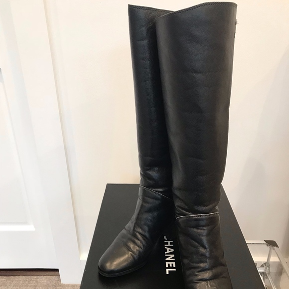 9313a3a8e19 Chanel Black Leather Tall Boots/Booties